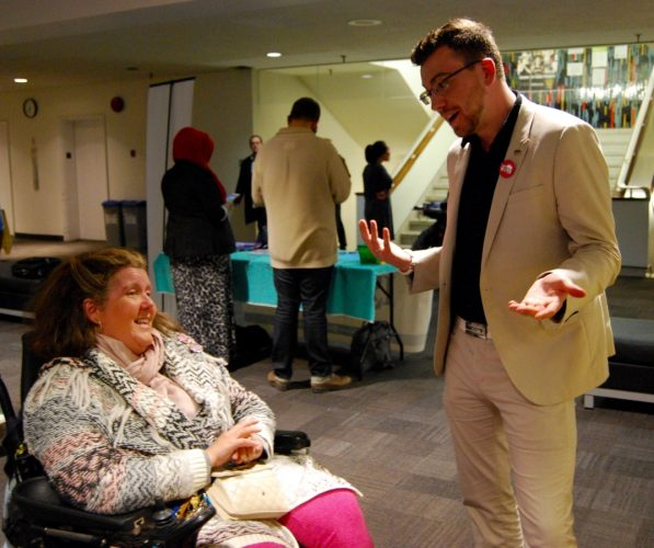 Desjardins speaks with Mary MacDonald during a campaign event at Dalhousie.