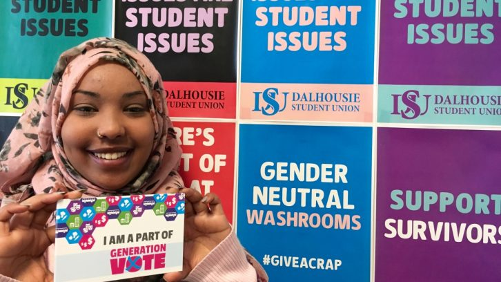 DSU vice president- academic and external, Amina Abawajy, is campaigning to increase young voter turnout this election.