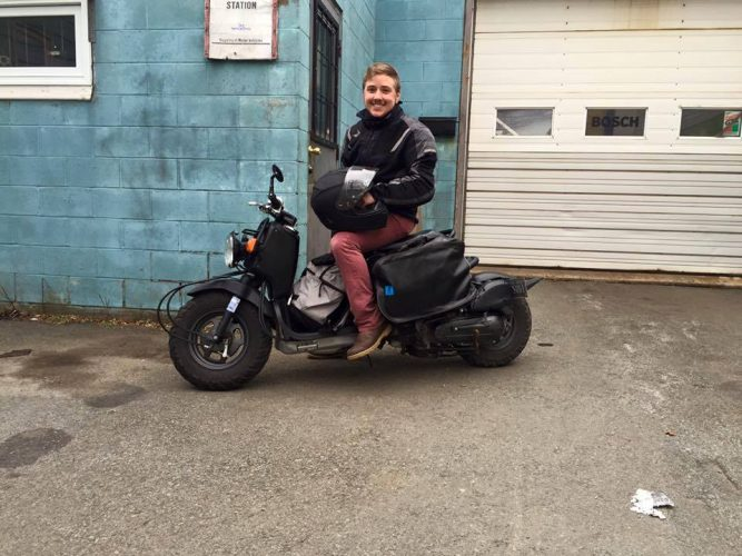 Filmmaker and photographer Samson Learn with his motorbike. (Photo taken in April 2016)