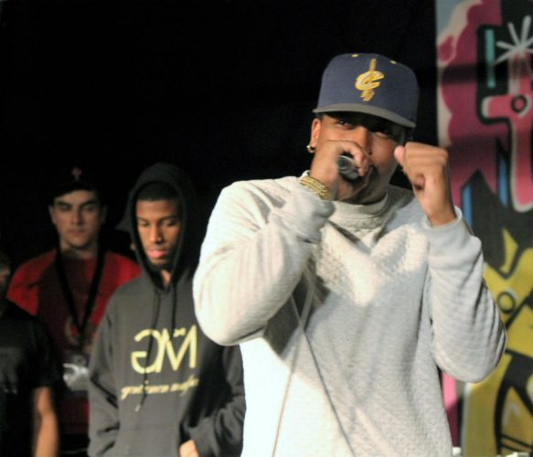 Martex Wiggens known as Woozy Blanks kicks off a freestyle rap cypher at Emerge, all ages arts festival.