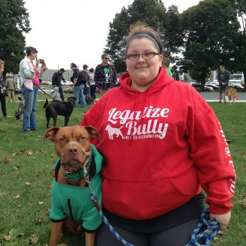 Founder of Halifax Bully Breed's Danielle Yorke and her pit bull Zeus in Cornwallis Park getting ready for the peaceful protest.