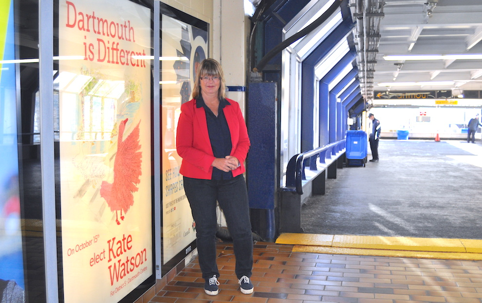 Kate Watson paid $950 to have her name displayed in the Halifax Ferry Terminal. Commuters heading home to District 5 see her every day.