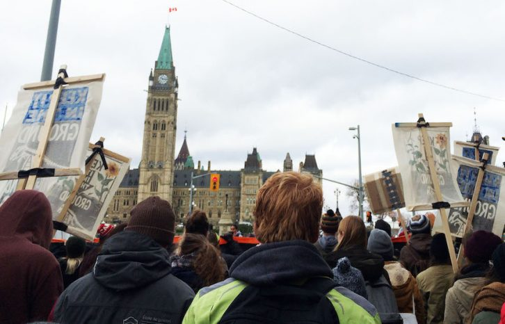 Students and young people from all over the country march to Parliament Hill in Ottawa to oppose the Kinder Morgan Trans Mountain pipeline.