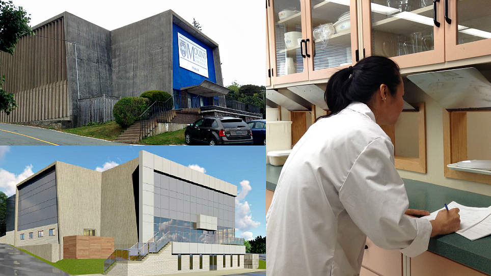 The top left image is the building that will be renovated to look like the bottom image. On the right Teresa Chiu is conducting research in the food lab.