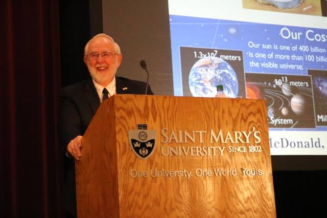 Nobel Laureate Dr. Arthur McDonald gives Dan MacLennan Memorial Lecture in Astronomy at Saint Mary's University.