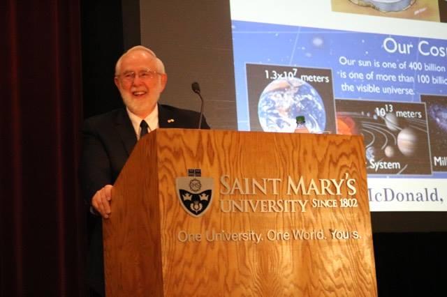 Nobel Laureate Dr. Arthur McDonald gives Dan MacLennan Memorial Lecture in Astronomy at Saint Mary's University.