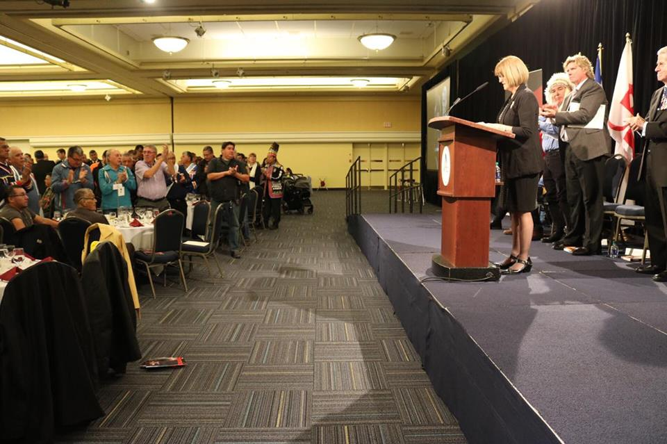 Deputy Premier Diana Whalen speaks at the Treaty Day Awards Ceremony at the World Trade and Convention Centre, Halifax.