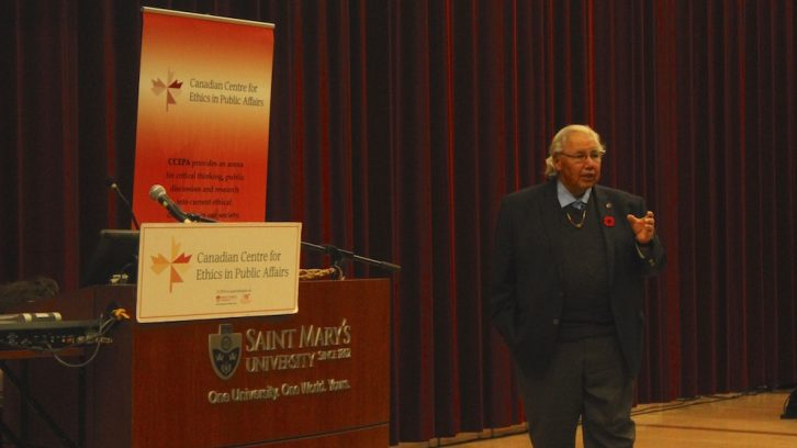 Senator Murray Sinclair addressed a large crowd at SMU on Wednesday.