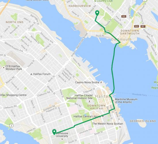 Patrick's route to Dartmouth via bike and ferry.