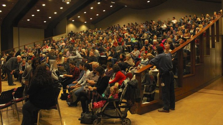 A large crowd came out to hear the talk on racism at SMU.