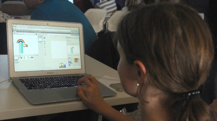 Ten-year-old Sylvie Clancy-Edwards works on her flying taco at National Girls Learning Code Day on Saturday in Halifax.