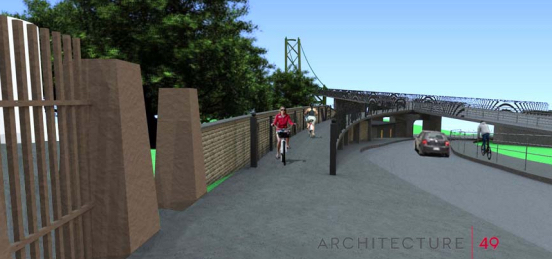 A flyover ramp to Lorne Terrace is one of the proposed improvements to the Macdonald Bridge bikeway.
