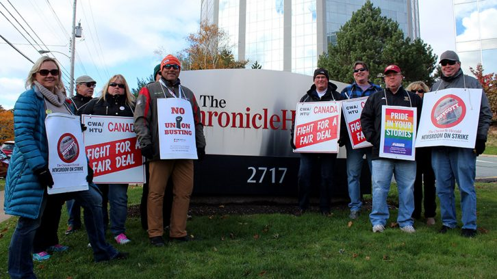 HTU president Ingrid Bulmer (left) and other union members Monday afternoon.