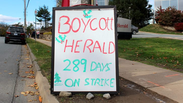 Unionized Herald workers have been on strike for nearly ten months.