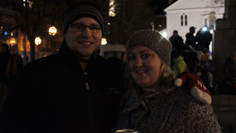 Andrea Jerrett and John Munro love watching the tree lighting.