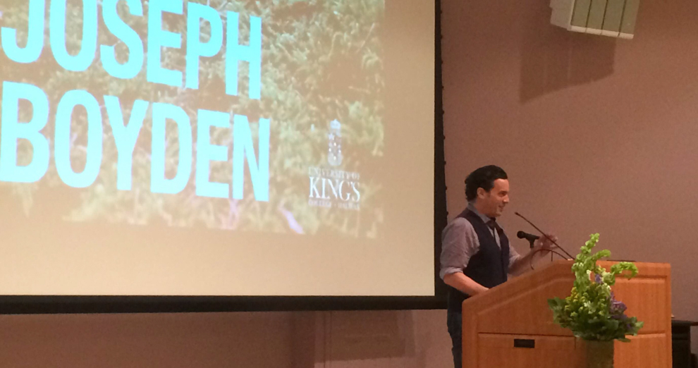 Joseph Boyden speaking at the Fountain lecture on Thursday night.