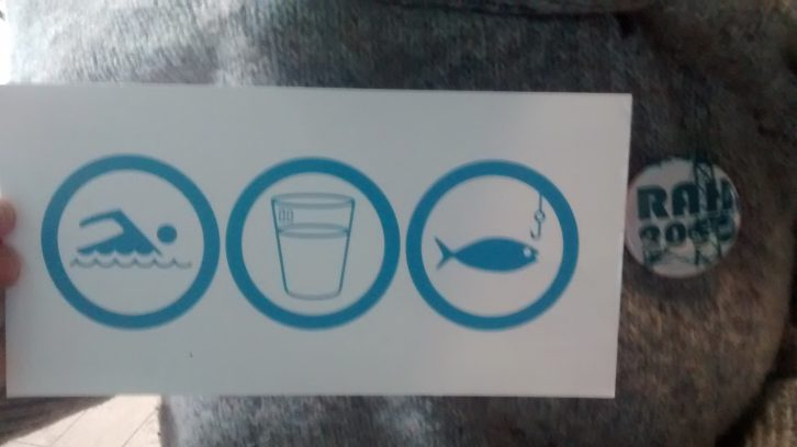 """The RAH project's logo: """"Swimmable, drinkable, fishable."""""""