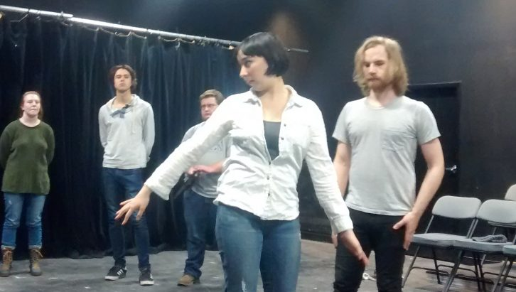 Julia Hancock-Song gives stage directions during a rehearsal.