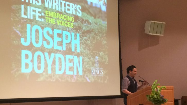 Joseph Boyden addresses the room at the Alex Fountain Memorial Lecture.