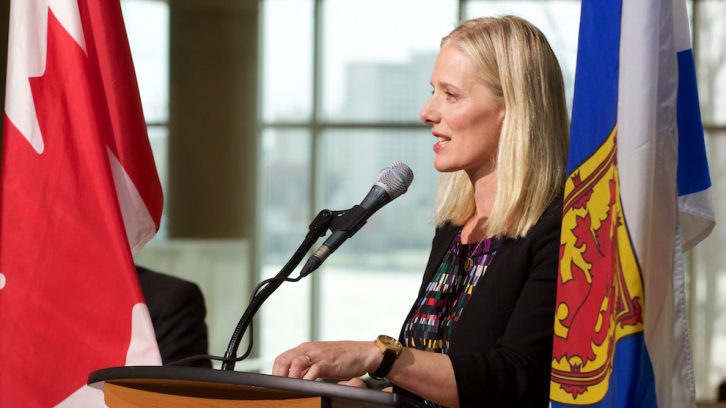 Federal Environment Minister Catherine McKenna speaks at the NSCC Waterfront campus on Nov. 21.