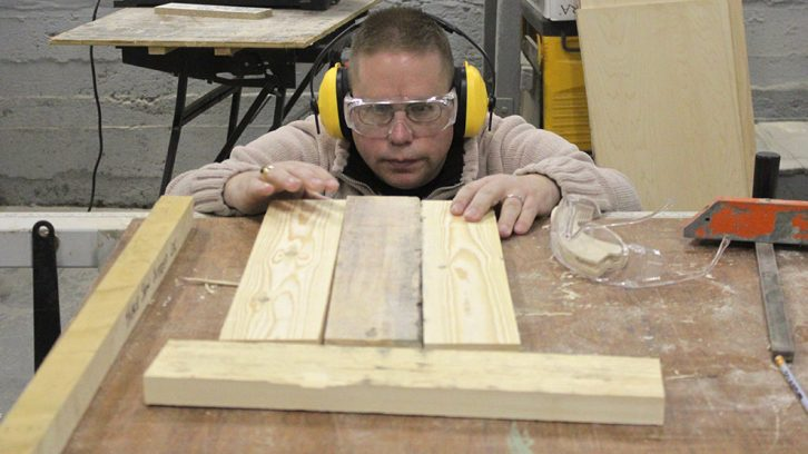 David Clearwater works on the platform for his tea tray at Hands-On Halifax.