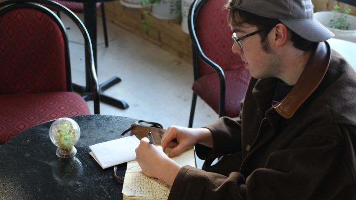 Josh Owen keeps a journal handy, for sketches and ideas.