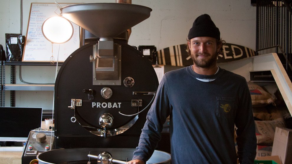 Dean Petty with Probat roaster used to roast coffee beans