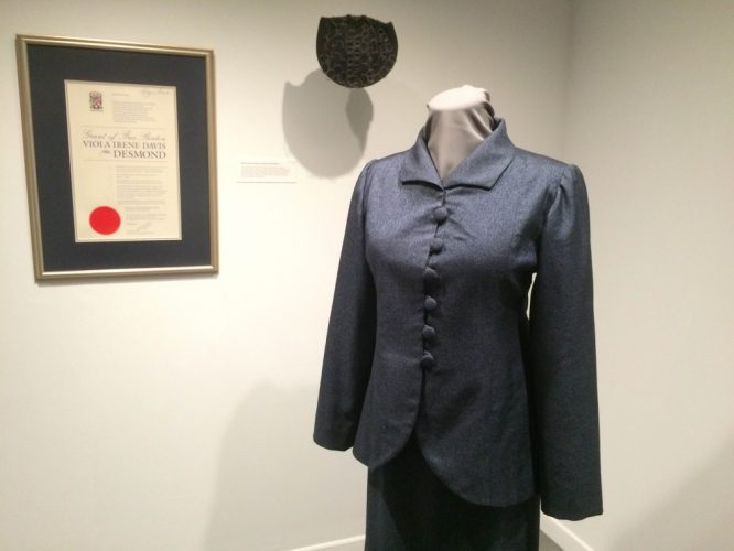 The dress Francis wore when she signed the pardon of Viola Desmond.