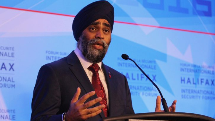 Harjit Singh Sajjan addresses the media Friday morning at the Halifax International Security Forum.