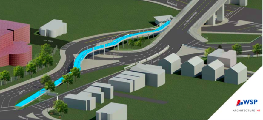 A flyover ramp to North Street is another proposed option for the Bikeway Connector Project.