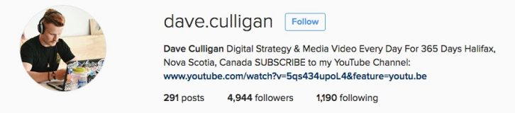 Culligan has over 9500 followers. This includes subscribers to his YouTube channel and Twitter followers. He averages over 1600 views on each Instagram post