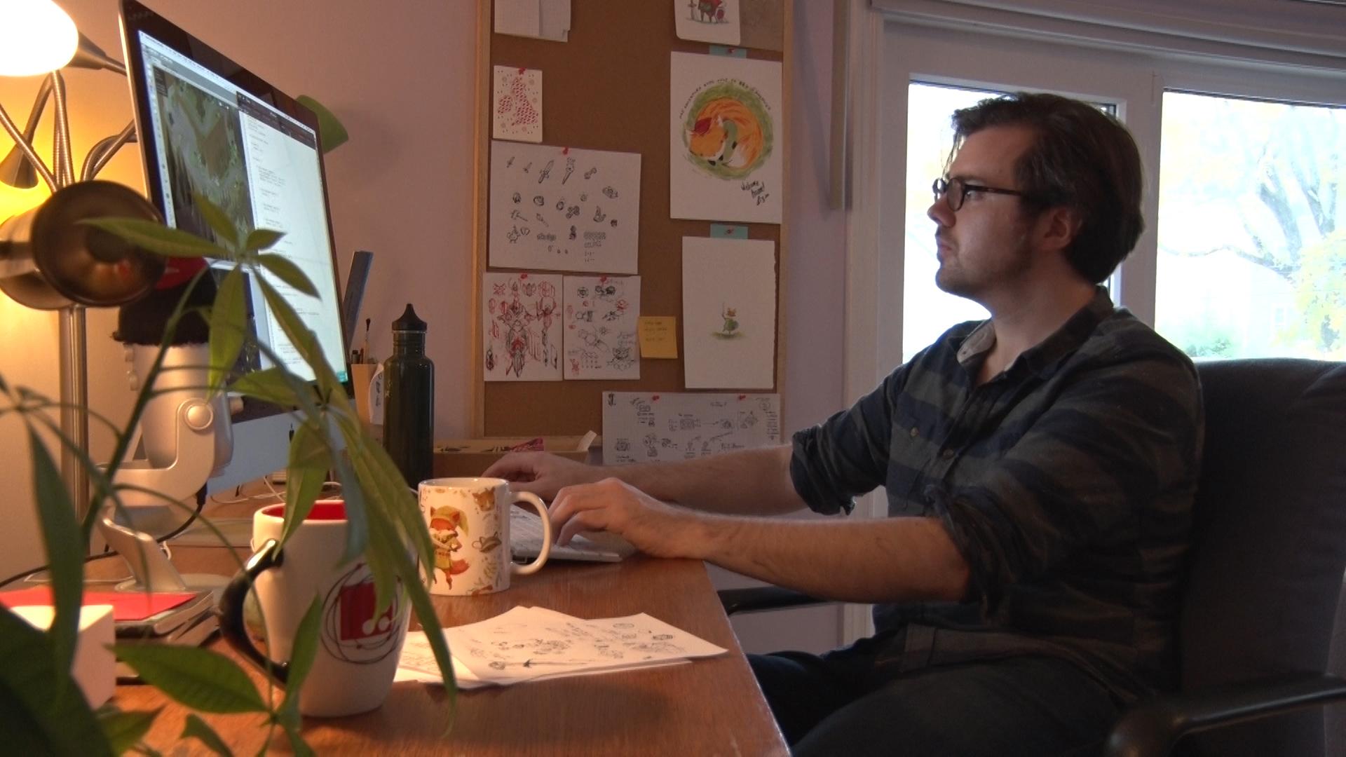 Andrew Shouldice working on Secret Legend from home.