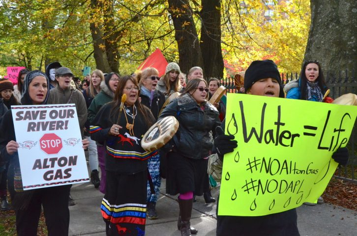 A crowd marches through downtown Halifax in support of the fight against the Dakota Access Pipeline at Standing Rock.