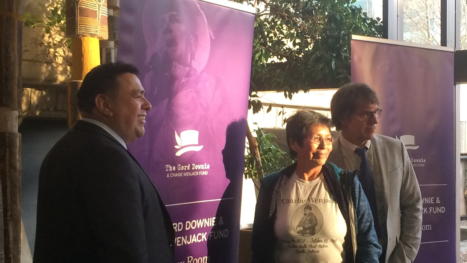 Chief Morley Googoo, Pearl Wenjack and Mike Downie after they announced the Legacy Room Initiative.