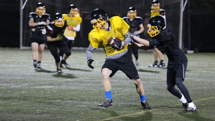 Members of the Atlantic Football League's Dalhousie Tigers practice at Wickwire Field. The 2016 edition of the team features players from Nova Scotia, New Brunswick, Ontario, Manitoba and The Bahamas