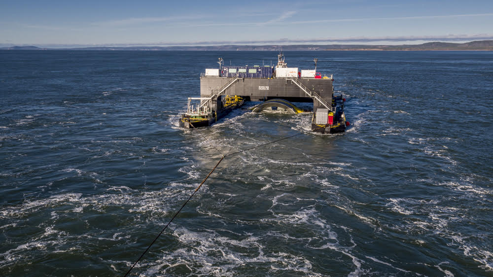 A tidal power turbine in the Bay of Fundy.