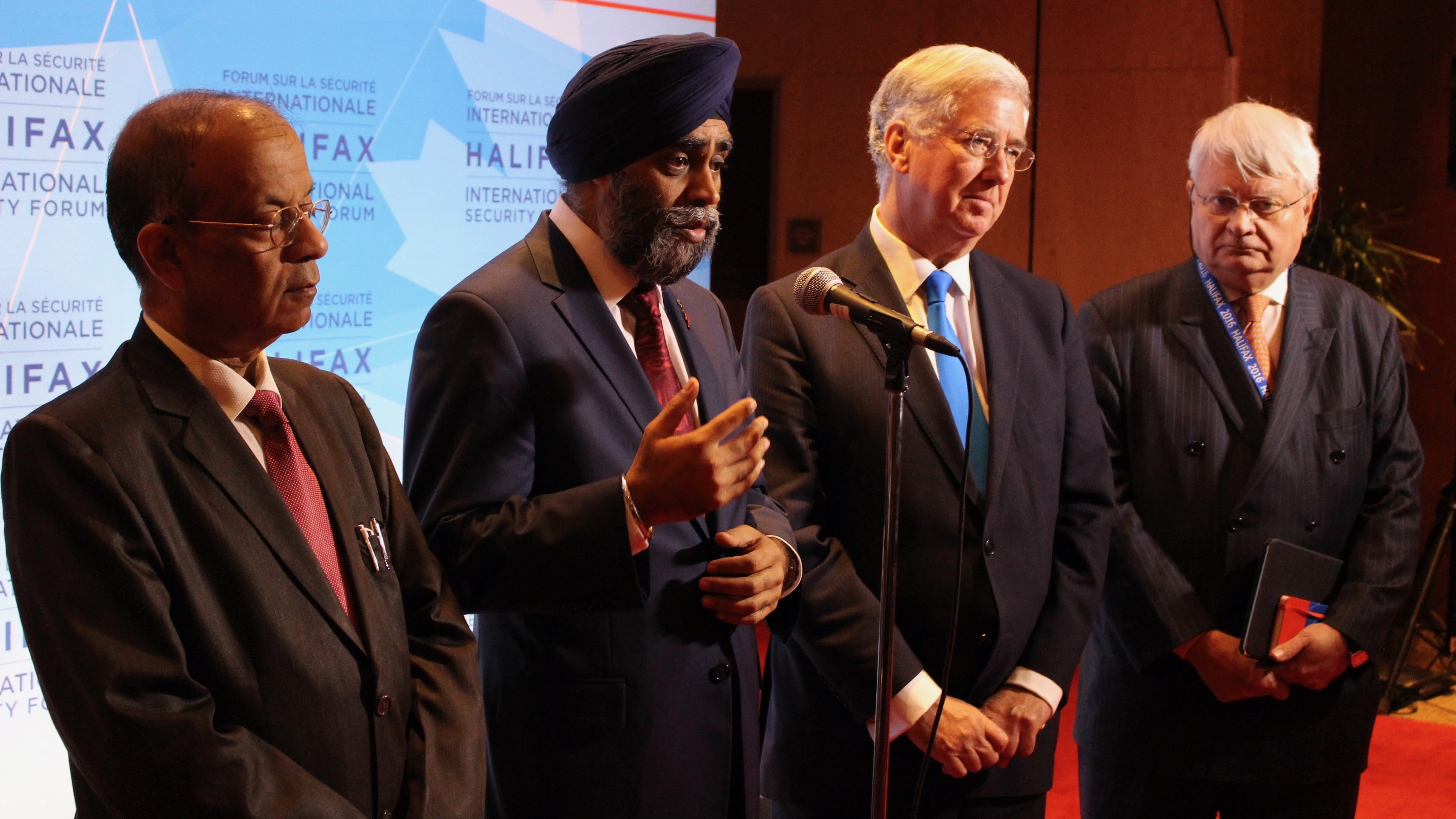 UN Under-Secretary-General for Field Support Atul Khare, Canadian Defence Minister Harjit Sajjan, U.K. Secretary of State Sir Michael Fallon and UN Under-Secretary-General for Peacekeeping Hervé Ladsous address the media after a meeting on UN peace operations Friday morning.