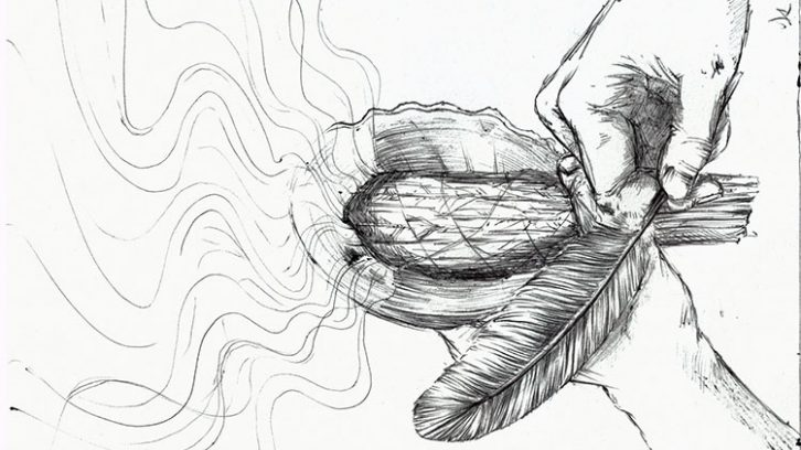 Smudging is a daily ritual. It happens once in the morning to greet the sun and give thanks for the day to come, and again at night to give thanks for the day that has passed, and the night ahead.  Four traditional elements are used in smudging; tobacco, cedar, sweet grass and sage.