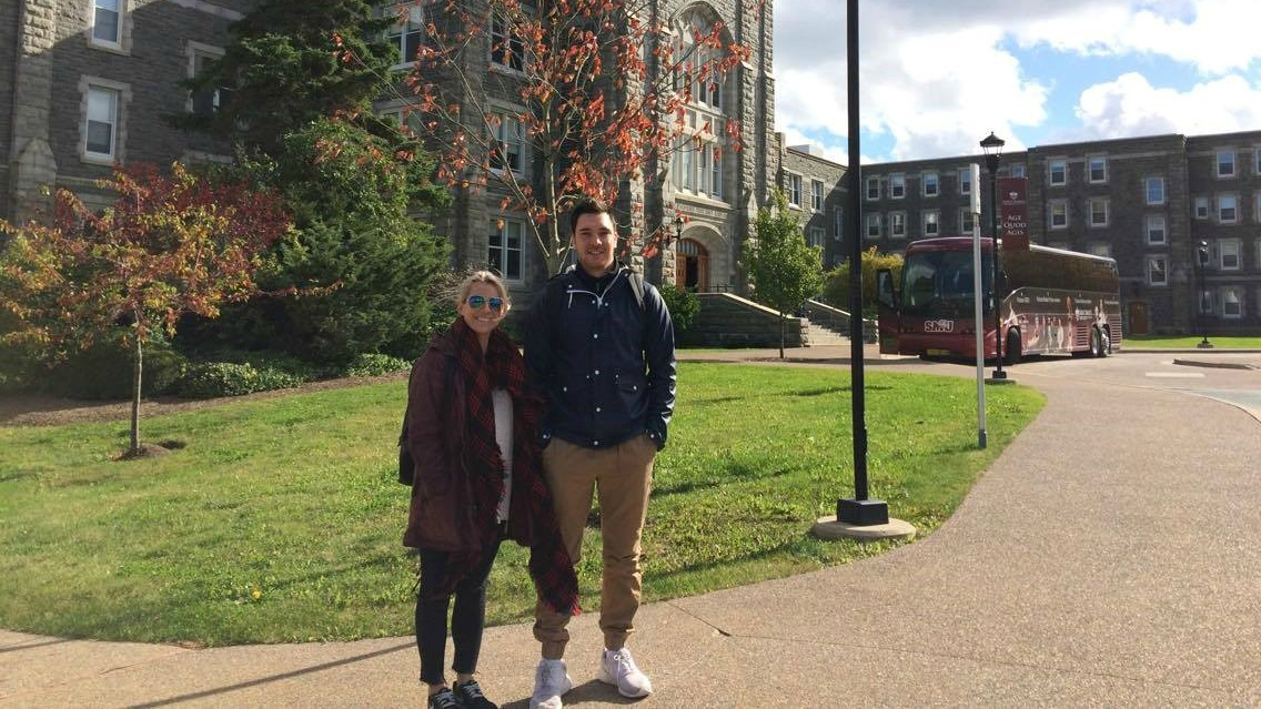 Chad Monette with girlfriend, Justice Fahey, at Saint Mary's Uni