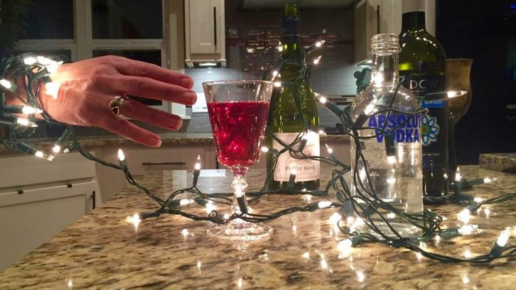 A symbolistic representation of how alcohol and the holidays are intertwined.
