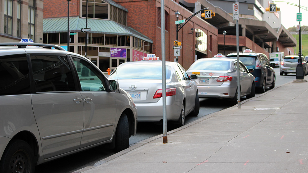 Cabs in front of Scotia Square.