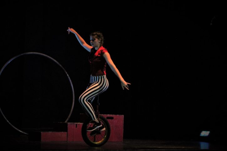Zanthia Berube has been riding the unicycle for five years.