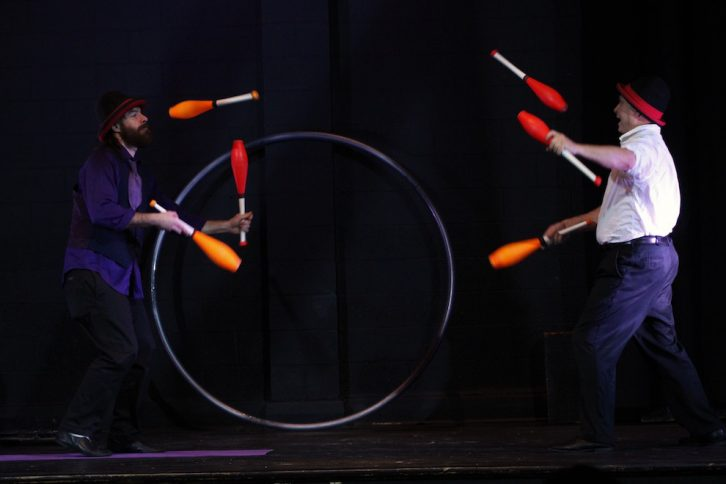 Mike and Danger perform their juggling routine on Friday.