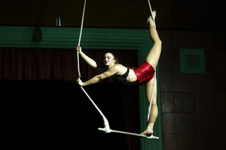 Yasmine says she has been leaning trapeze for eight or nine years.