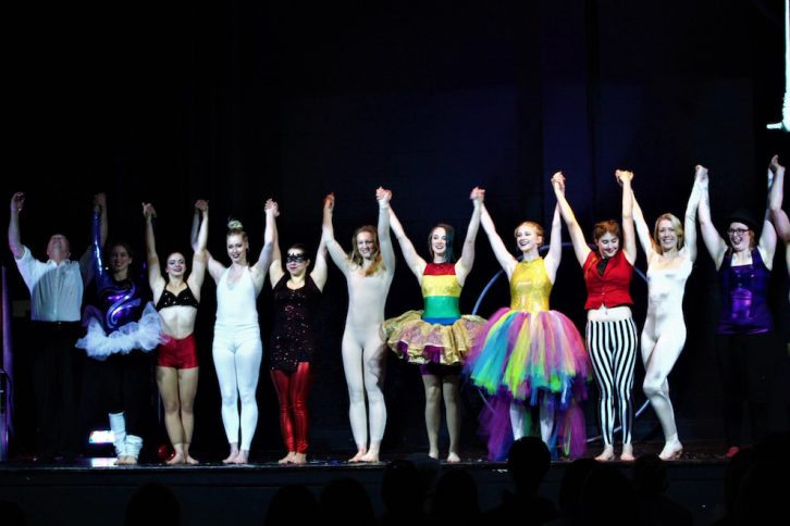 The circus performers take a bow after their Friday show.