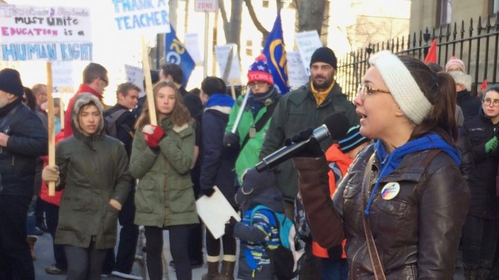 Kenzi Donnelly addresses the crowd at the Students for Teachers rally Monday morning.