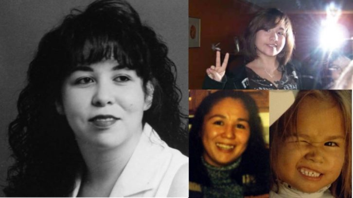 A collage of indigenous who have been murdered or gone missing in the Maritimes. Left: Rowena Sharpe, top right: Hilary Bonnell, Bottom right: