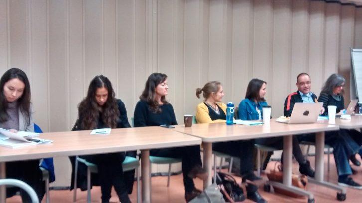 Left to right: Diane Obed, El Jones, Erin Wunker, KelleyAnne Malinen, Ardath Whynacht, Isaac Saney and Candida Hadley.