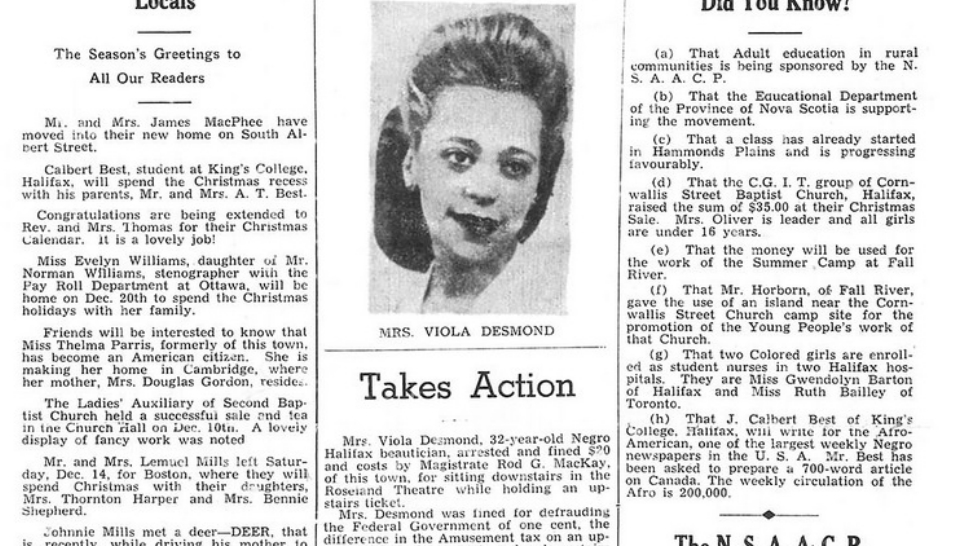 Viola Desmond's story on the cover of the newspaper of the African Nova Scotian community, The Clarion, in 1946.