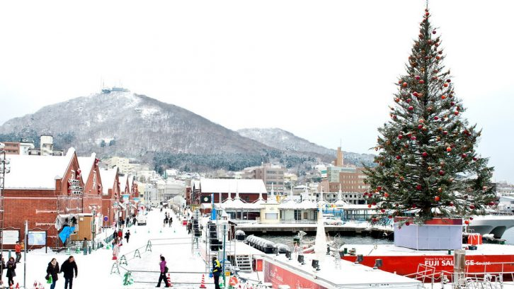 The Nova Scotian Christmas tree on the Hakodate waterfront in December.